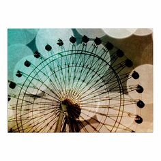 KESS InHouse Sylvia Coomes 'Ferris Wheel SILHOUETTE' Beige Teal Dog Place Mat, 13' x 18' >>> New and awesome dog product awaits you, Read it now  : Dog food container