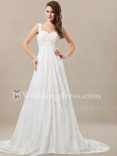 A-line beach wedding dress features sweetheart bodice with exquisite Lace appliques.