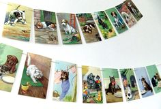 Puppies and Kittens Bunting cats dogs banner by PeonyandThistle