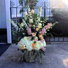 Stage centerpieces for a beautiful indoor /outdoor wedding in San Rafael, CA Indoor Outdoor, Floral Design, Centerpieces, Floral Wreath, Stage, Wedding Day, Wreaths, Flowers, Plants