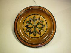 Vintage - Polish Folk Art - Decorative Wooden Plate.