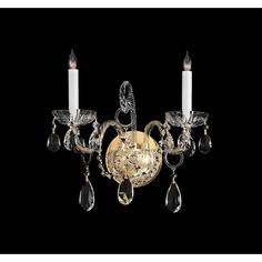 Traditional Crystal Polished Brass Two-Light Crystal Sconce $250