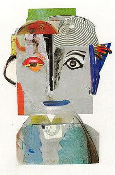 jac wegren: man with blue lips. no. 4 in a series found paper on card