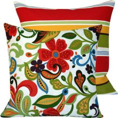 """Flora Bunga Collection - Richloom Designer 20"""" Square Boutique Throw Outdoor Pillow Covers - Floral, Flowers and Stripes - Red, White, ..."""