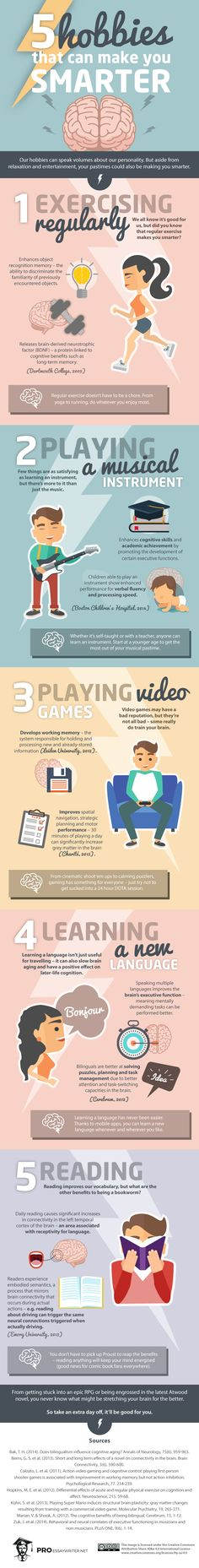 5 Hobbies that Can Make you Smarter #infographic #Health