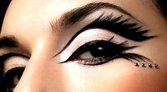 interesting black feathery eyes..