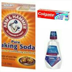 To get your teeth white you need to use one teaspoon of baking soda,two small strips.of toothpaste, 1/4 of mouthwash, and one teaspoon of water . Mix it then use it on your toothbrush to do your teeth with and do it for two minutes everyday and you will see the results.