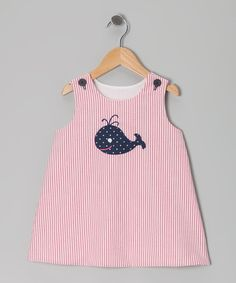 Take a look at this Pink & Navy Whale Seersucker Dress - Infant, Toddler & Girls by Buds 'n' Branches on #zulily today!