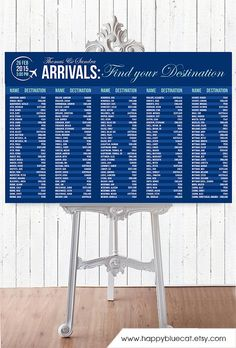Wedding Seating Chart - RUSH SERVICE - Arrivals Airport Travel Theme Wedding…