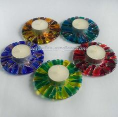 Fused glass candle holders FRUIT DROPS | Fused glass - fusing