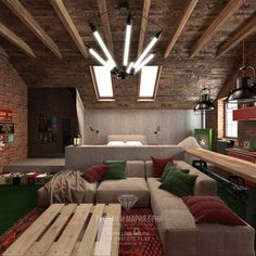 Дизайн мансарды с двускатной крышей в стиле лофт   http://www.line-mg.ru/dizayn-mansardy-s-dvuskatnoy-kryshey-fotogalereya-interyerov