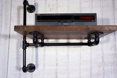 Reclaimed Wood Stereo Shelf With Industrial Iron