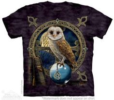 Cute Witchy Tee Shirts at Magical Omaha  Owl T-Shirt | Spellkeeper by Nemesis Now Artist Lisa Parker 10-3815  SizesS-5XL  Free Continental US Shipping!