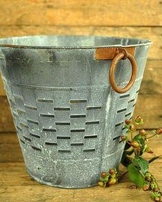 Rustic Olive Grape Bucket Basket