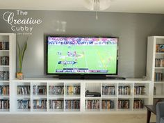 #IKEA #Expedit #Makeover - The Creative Cubby // #Expedit #Regal #Wand für #TV und #Filmsammlung