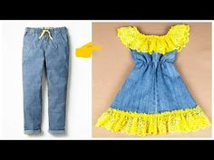 fast conversion of old trousers girl dress gorgeous Girls Dresses Sewing, Sewing Patterns Girls, Baby Girl Dresses, Kids Dress Up, Toddler Dress, The Dress, Baby Dress Design, Frock Design, Baby Frocks Designs