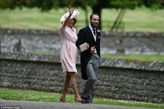 Carole Middleton with son James walk to St Mark's church in Englefield for Pippa's  wedding. May 20 2017.