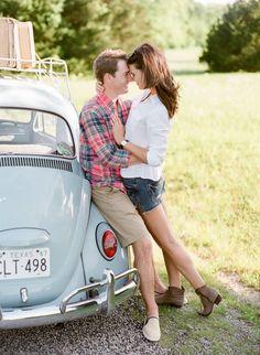 Road Trip Engagement Shoot by Jenny McCann on Blog - RENT MY DUST Vintage Rentals Dallas Texas - vintage suitcase & VW Bug