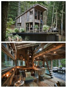 """Scott's 300 Square Foot Cabin in the Woods - """"The rustic cabin is only 300 square feet in size and has no running water or electricity. The lack of modern amenities reflects Newkirk's wish to """"switch off"""" from the busy life he leads during the week."""" – Niall"""