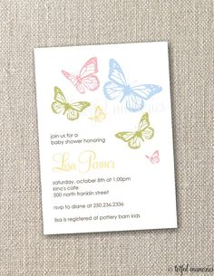 butterfly invites Butterfly Baby Shower, Butterfly Party, Butterfly Birthday, Butterfly Invitations, Baby Shower Invitations, Invites, Baptism Ideas, Party Planning, Shower Ideas
