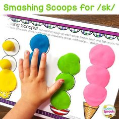 We had fun with our ice-cream scoop smash mats last week because we're in a summer speech therapy frame of mind! The kids loved flatteening the scoops as they practiced s-blends. #articulationtherapy This time of year, many of my kiddos have mastered the usual s-blends and singleton velars. Time to up our game with /sk/ blends! #speechtherapy #speechsprouts