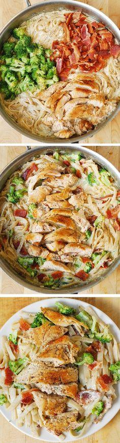 Creamy Broccoli, Chicken Breast, and Bacon Fettuccine Pasta in homemade Alfredo sauce. Easy, delicious pasta dinner!