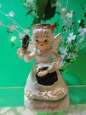 """Vintage Napco """"March"""" St. Patrick's Angel with Shamrock #A1363"""