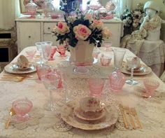 depression glass and vintage china <3