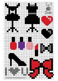 Makeup bow clothing x-stitch Pixel Art Templates, Perler Bead Templates, Cross Stitching, Cross Stitch Embroidery, Cross Stitch Patterns, Perler Bead Art, Perler Beads, Loom Patterns, Beading Patterns