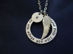 Hand stamped washer necklace - Under His wings you will find refuge - Psalm 91:4 - Initial Necklace - Personalized Necklace by TheVerseWithin on Etsy