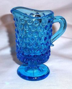 Vintage Kanawha Glass Miniature Footed Pitcher in Blue by aestexas, $10.00