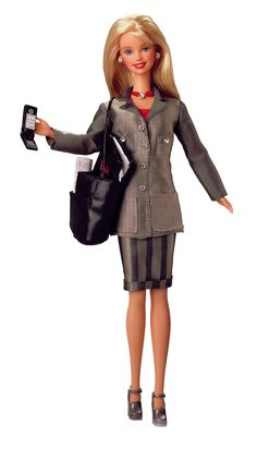 To address criticism from feminist groups, the more serious minded, 'Working Woman' Barbie arrived with a mobile phone, laptop, day planner, and a coffee cup