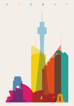 'Shapes of Sydney in Scale' by Yoni Alter on artflakes.com as poster or art print $16.63