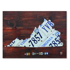 Trademark Fine Art Virginia License Plate Map Large Canvas Wall Art - ALI1324-C1419GG