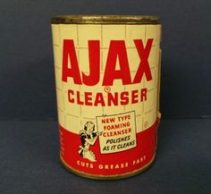 icollect247.com Online Vintage Antiques and Collectables - Ajax Cleanser Free Sample Tin NOS 1950s Salesman Samples-