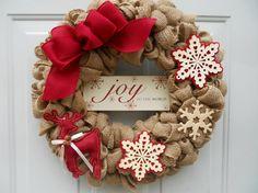 Rustic Country Christmas Burlap Door Wreath by ChloesCraftCloset