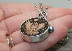 Owl wood pyrography necklace Crescent moon necklace Sterling