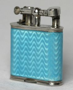 Dunhill Sterling Silver Light Blue Guilloche Enamel Lighter USA Patent c. 1935