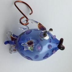 Blown Glass Fish Ornament  Bue Dot Fish by natalidotca on Etsy
