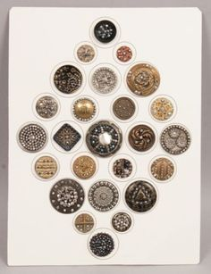 Antique-19c-Group-Large-Ornate-Buttons-incl-Brass-Filigree-Steel-Cut-Beads-MOP