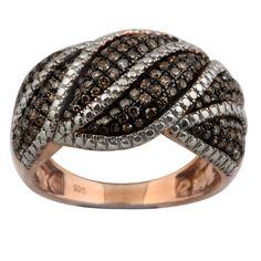 Fabulous 0.83 Carat Brown Diamond  Gigantic Ring, 925 Sterling Silver #PrismJewel #GiganticRing #Birthday