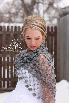 Winter Wedding Shawl Bridal Cover up Bridal Wrap by MODAcrochet