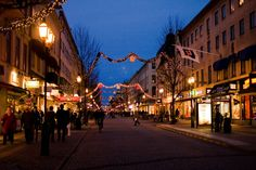Street of Oslo at Christmas Time. Oslo, Norway.
