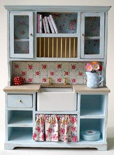 Shabby chic dollhouse kitchen cabinet