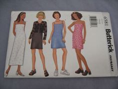 2000 Butterick 6581 Pattern Girls Top Dress Overdress Strapless Sz 7-8-10 FF