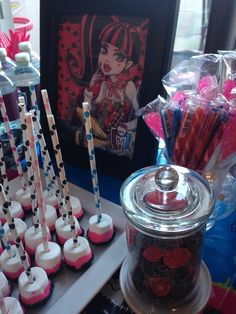 Marshmallow pops at a Monster High Party | CatchMyParty.com #monsterhigh #marshmallowpops