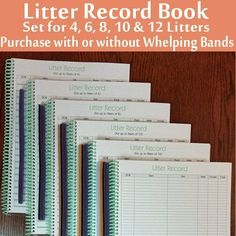 """Litter Record Books & SOLD SEPARATELY Whelping Puppy ID Collar Litter Bands 3/8"""" #WhelpingSuppliesPlus"""