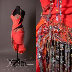 Orange Latin w/ Stoned Bra Top & Crystal Organza Layered Skirt w/ Silver Sequin Fringe Accents