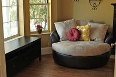Round chair from Ashley furniture I want this in my room its so comfy