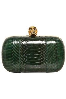 Alexander Mcqueen Galaxy Classic Skull Box Clutch in Green  ~~~ ✿RePin from Golden Shadow✿